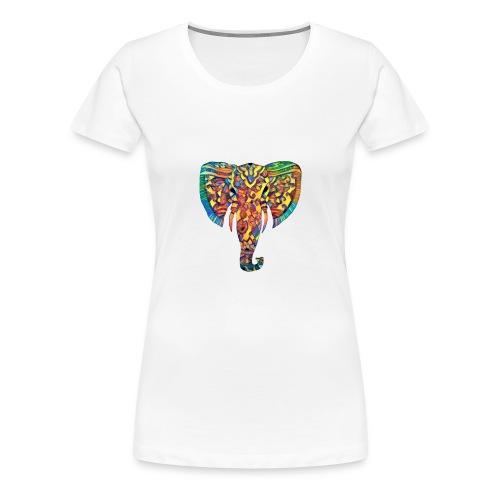 Bunter Elefantenkopf - Frauen Premium T-Shirt