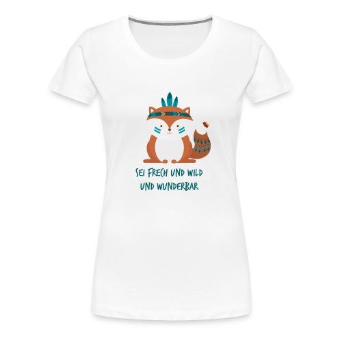 Indianer Fuchs mit Text - Frauen Premium T-Shirt