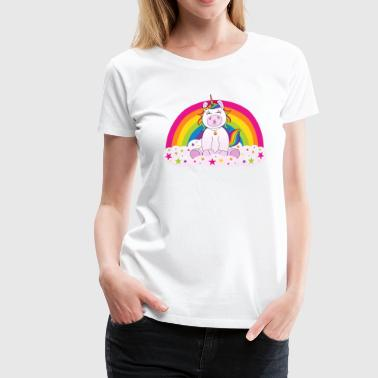 Unicorn kiss on rainbow with clouds and stars - Women's Premium T-Shirt