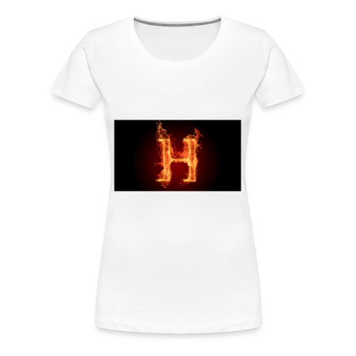 2560x1440-art_flaming_letter_h_digital_letter_fire - Premium T-skjorte for kvinner