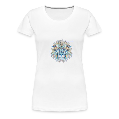 stock vector patterned head of the lion on the gru - Camiseta premium mujer