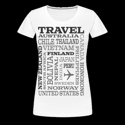 Travel Places Gray design - Naisten premium t-paita