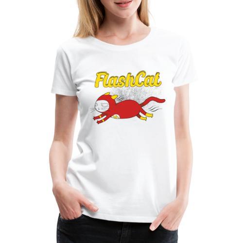 FlashCat Vintage Comic Katze Superheld - Frauen Premium T-Shirt