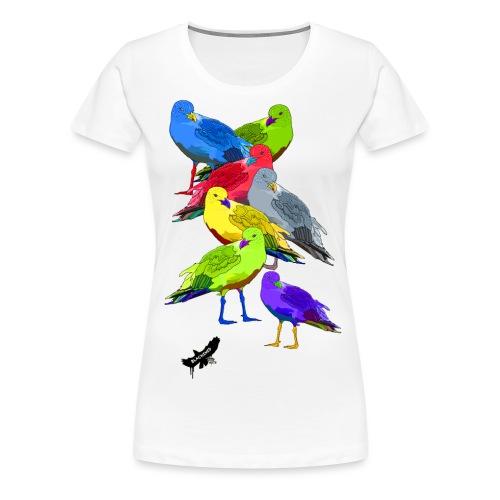 Seagulls by BlackenedMoonArts, with logo - Dame premium T-shirt