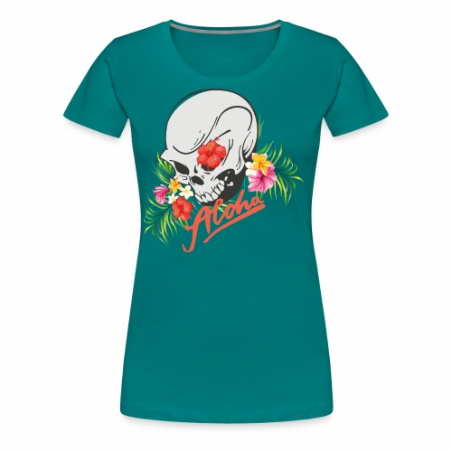 Hawaiian Skull Aloha Surfer Design - Frauen Premium T-Shirt