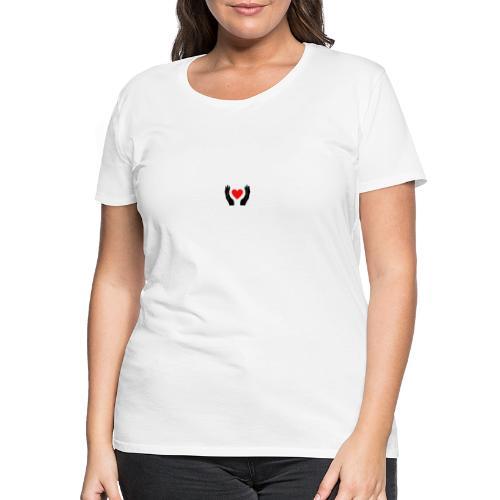 Schwarze Hände die rotes Herz halten - Frauen Premium T-Shirt