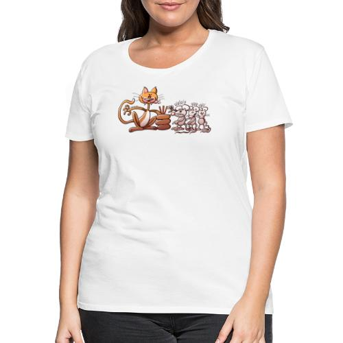 Cat Choosing a Mouse by Drawing the Short Straw - Women's Premium T-Shirt