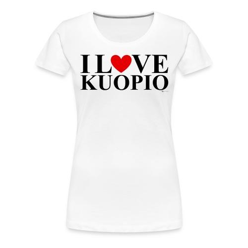 I LOVE KUOPIO (koko teksti, musta) - Naisten premium t-paita