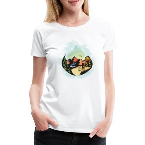Hund Spaziergang Frauchen Herrchen Malerei - Frauen Premium T-Shirt