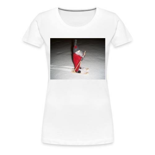 Joulutonttu hiihtämässä - Naisten premium t-paita