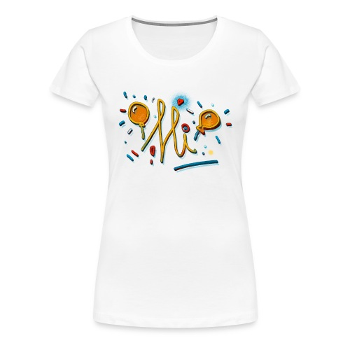 Hi Sunny Doodle fun design by FabSpark - Women's Premium T-Shirt