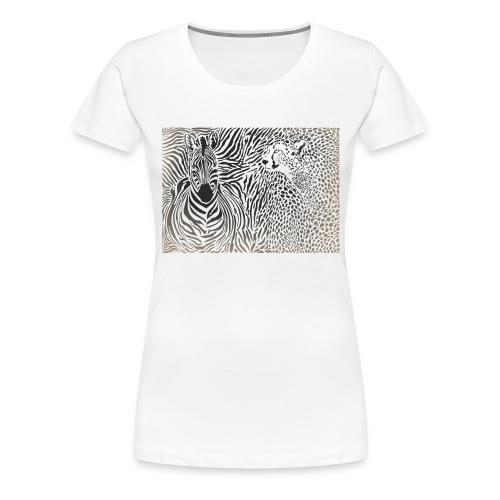 Zebra und Gepard und Musterhintergrund - Frauen Premium T-Shirt