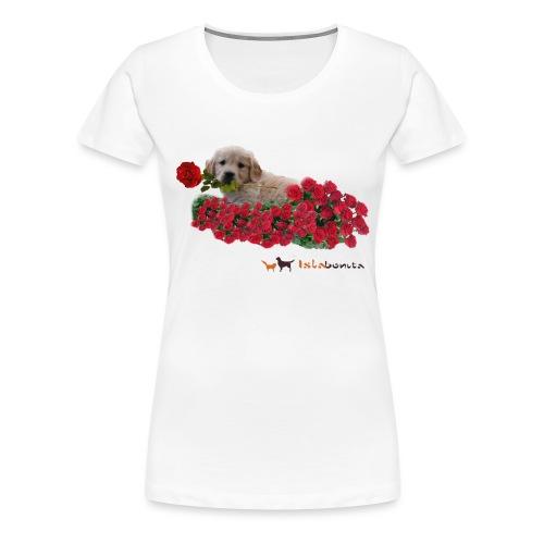 Cucciolo Golden Retriever con Rosa in Bocca - Maglietta Premium da donna