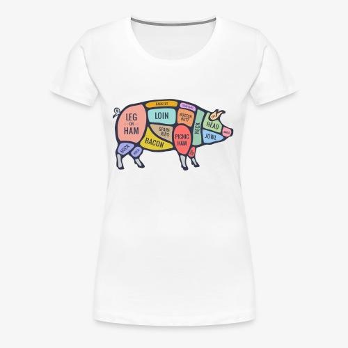 pig diagram - Vrouwen Premium T-shirt