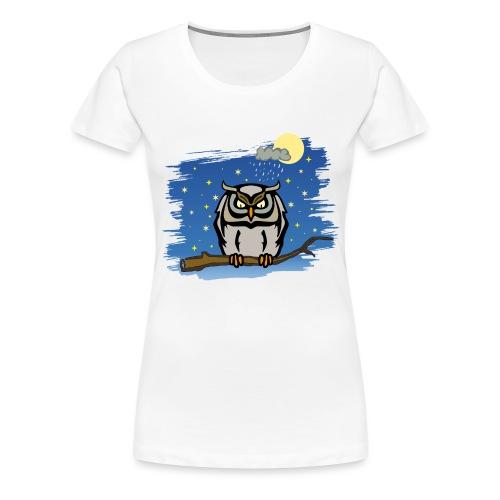 Eule Uhu Nachtschwärmer Vollmond Regenwolke Sterne - Frauen Premium T-Shirt