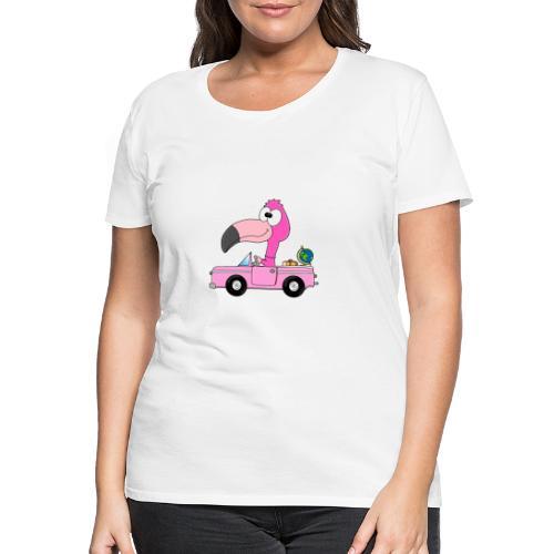 Lustiger Flamingo - Auto - Weltenbummler - Reise - Frauen Premium T-Shirt