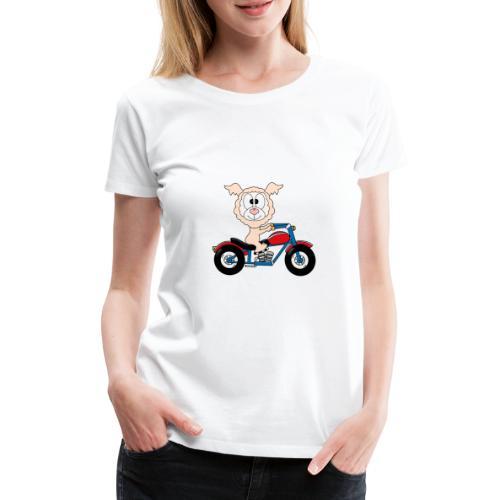 Lustiges Lama - Alpaka - Motorrad - Biker - Fun - Frauen Premium T-Shirt
