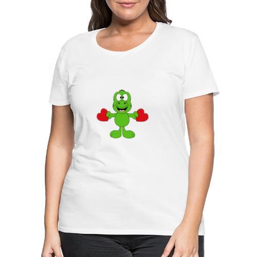Lustiger Gecko - Echse - Herzen - Liebe - Love - Frauen Premium T-Shirt