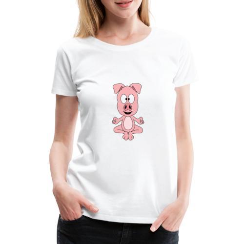 Lustiges Schwein - Yoga - Chill - Relax - Tier - Frauen Premium T-Shirt