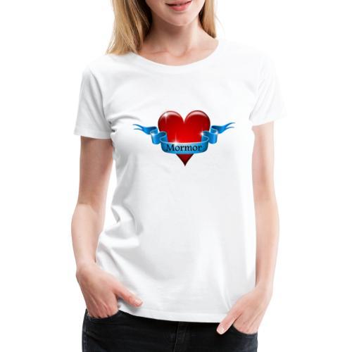 Mormor skrevet på blåt bånd om rødt hjerte - Dame premium T-shirt