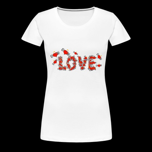 Flying Hearts LOVE - Dame premium T-shirt