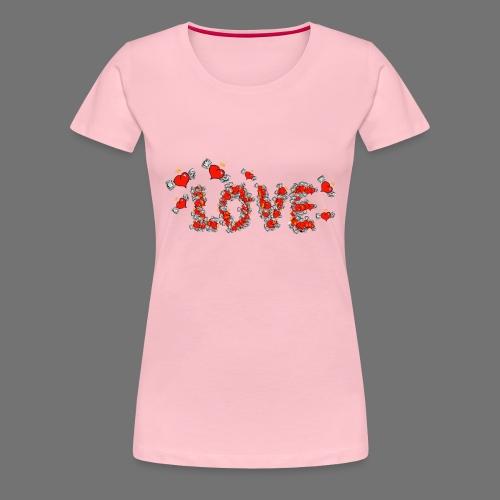 Flying Hearts LOVE - Naisten premium t-paita