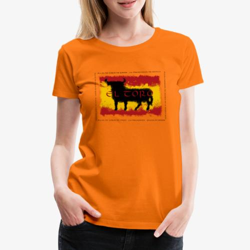 Spain Flag with bull - Frauen Premium T-Shirt