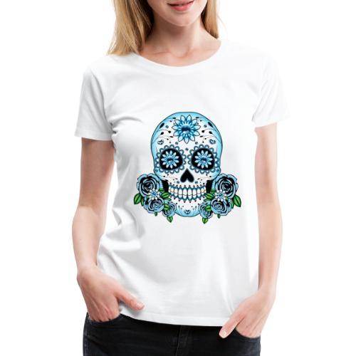 Blue Sugar Skull - Women's Premium T-Shirt