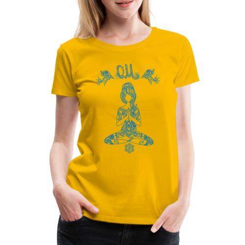 Hippie Yogagirl Blau 2 OM Frieden - Frauen Premium T-Shirt