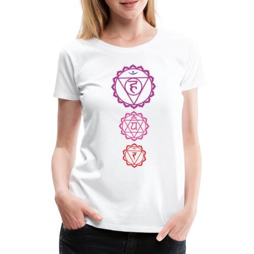 3 Chakra Tshirt dreifarbig Yoga Motiv - Frauen Premium T-Shirt