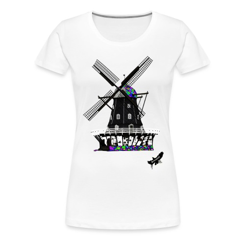 Windmill by BlackenedMoonArts, with logo - Dame premium T-shirt