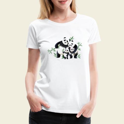 Pandafamilie zwei Kinder - Frauen Premium T-Shirt