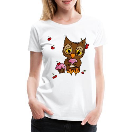 Eule mit Cupcakes - Frauen Premium T-Shirt