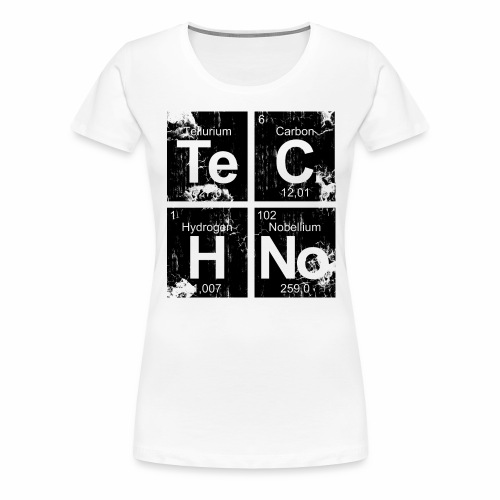 Dark Techno Elemente Black & White Paranoid Rave - Frauen Premium T-Shirt