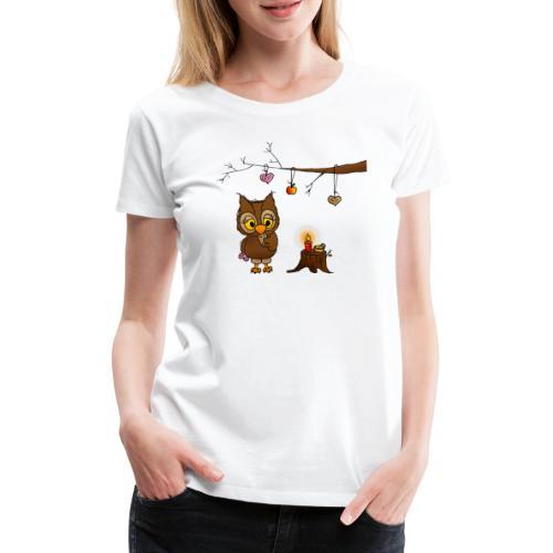 Eule feiert Weihnachten - Frauen Premium T-Shirt
