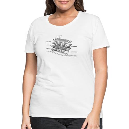 Exploded harmonica - black text - Women's Premium T-Shirt
