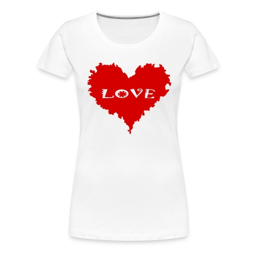 LOVE - red heart - Premium-T-shirt dam