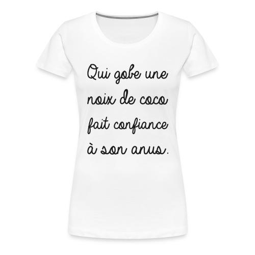 Humour noir et blanc Noix de coco - T-shirt Premium Femme