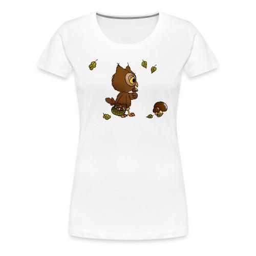 Eule sucht Pilze - Frauen Premium T-Shirt