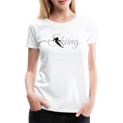 Skiing Skifahrerin (Grau) Wintersport Apres-Ski - Frauen Premium T-Shirt