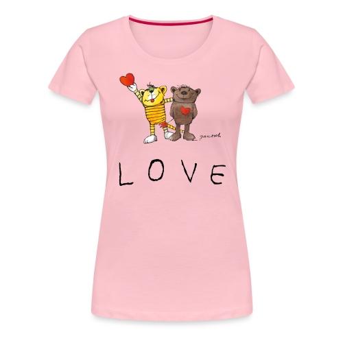 Janosch LOVE Schiftzug Tiger und Bär - Frauen Premium T-Shirt