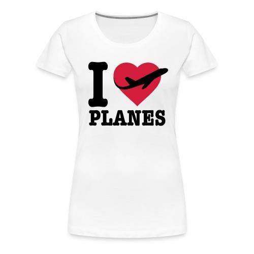 Uwielbiam samoloty - czarne - Koszulka damska Premium