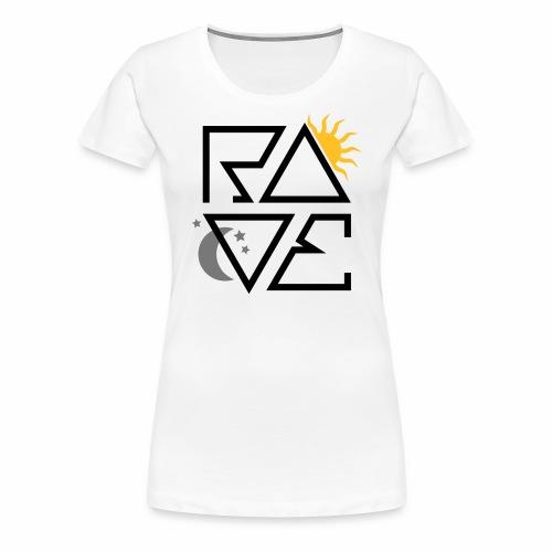 RAVE Minimal Text Sonne Mond Sterne Symbole - Frauen Premium T-Shirt