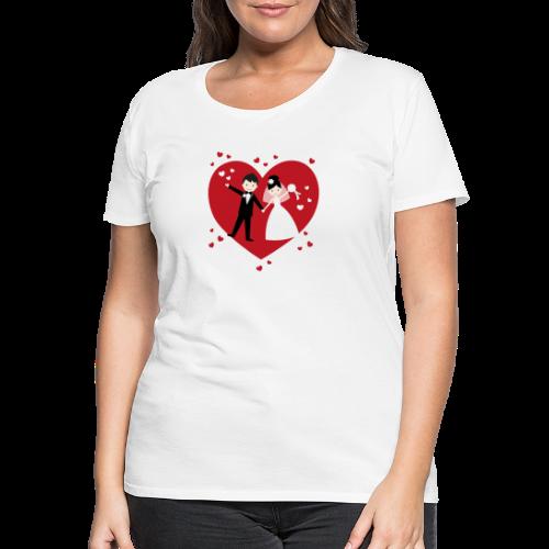 Hochzeitspaar mit vielen Herzen - Rot - Frauen Premium T-Shirt