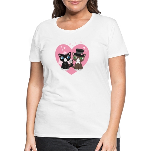 Katzen-Braut und Katzen-Bräutigam - Hochzeitspaar - Frauen Premium T-Shirt