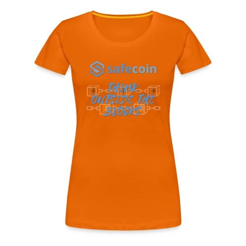 SafeCoin; think outside the blocks (blue) - Women's Premium T-Shirt