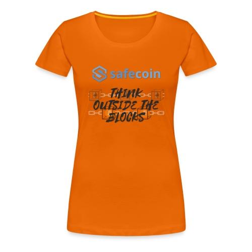 SafeCoin; Think Outside the Blocks (black + blue) - Women's Premium T-Shirt