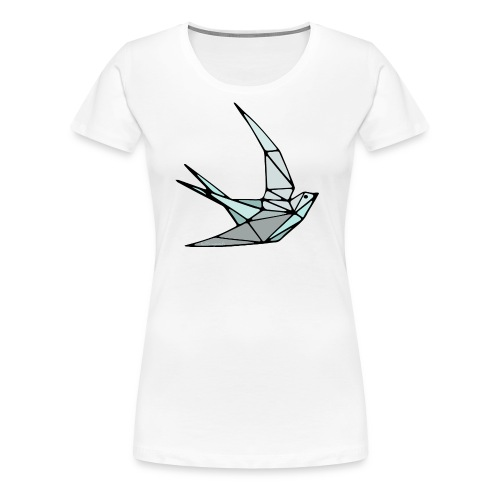 Oiseau (hirondelle) en origami - T-shirt Premium Femme