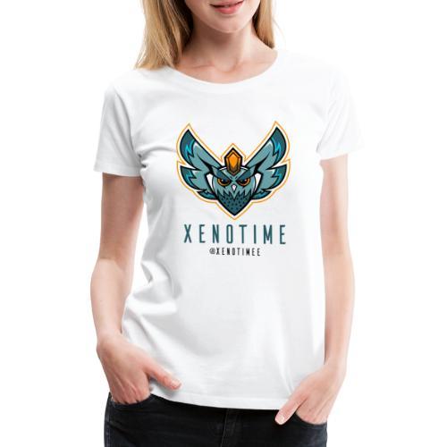 Logo + Texte + Tag + Bleu - T-shirt Premium Femme