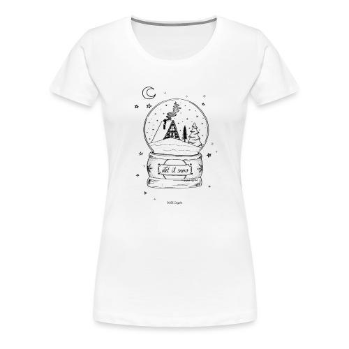 Winter Schnee Bild Kinder Liebe Weihnachten Hütte - Frauen Premium T-Shirt